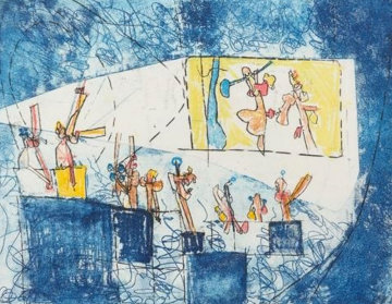 Le Cinema (From Scenes Famileres) 1962 23x50 Super Huge  Limited Edition Print - Roberto Sebastian Matta