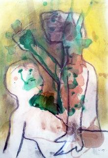 Avvertimento 1990 27x19 Original Painting - Roberto Sebastian Matta