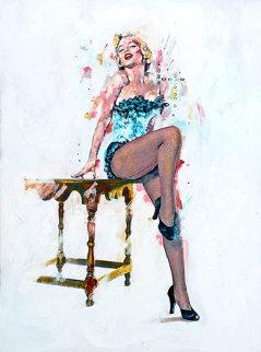 Marilyn Monroe Turquoise Bustier 19x13 Original Painting - Sid Maurer