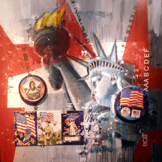 Let Freedom Ring (America Series) 50x50 Super Huge Original Painting - Sid Maurer