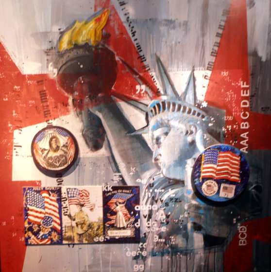 Let Freedom Ring (America Series) 50x50 Original Painting by Sid Maurer