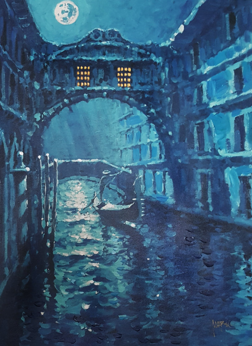 Blue Moon Over Venice Embellished AP 2006 Limited Edition Print by Marko Mavrovich