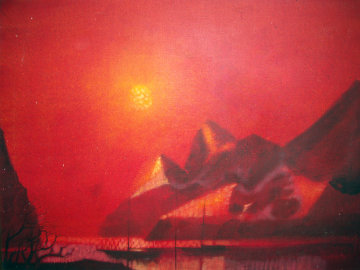 Sailboats At Sunset 1969 34x46 Original Painting - Paul Maxwell
