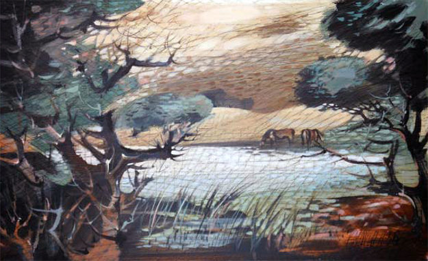 Untitled Landscape Painting 1958 28x47 Original Painting by Paul Maxwell