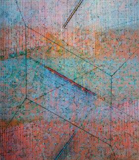 Incipient Geometry 1987 36x32 Huge Original Painting - Paul Maxwell