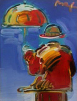 Umbrella Man on Blue Ver I #1 Unique 2004 Works on Paper (not prints) by Peter Max