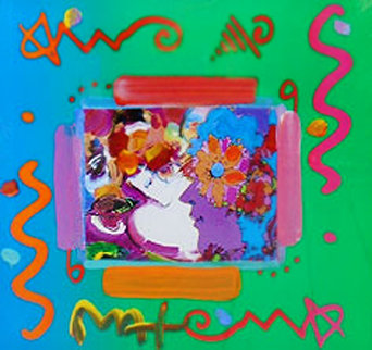 Flower Blossom Lady Collage Unique  2000 12x14 Works on Paper (not prints) by Peter Max