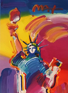 Statue of Liberty Unique 2015 31x14 Works on Paper (not prints) by Peter Max