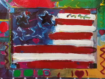 American Flag With Heart 1990 35x28 Works on Paper (not prints) by Peter Max