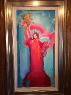 Statue of Liberty Unique 2006 36x60 Original Painting by Peter Max - 2