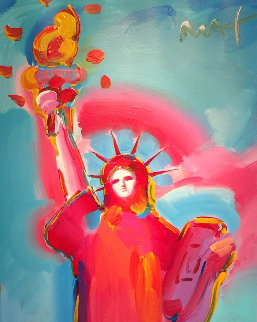 Statue of Liberty Unique 2006 36x60 Original Painting - Peter Max