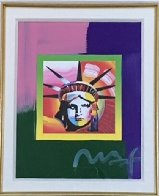 Liberty Head II on Blends  American Suite Unique 2006 23x21 Works on Paper (not prints) by Peter Max - 1