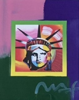 Liberty Head II on Blends  American Suite Unique 2006 23x21 Works on Paper (not prints) by Peter Max