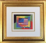Flag With Heart on Blends - Horizontal  American Suite Unique 2005 Works on Paper (not prints) by Peter Max - 2