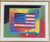 Flag With Heart on Blends - Horizontal  American Suite Unique 2005 Works on Paper (not prints) by Peter Max - 1