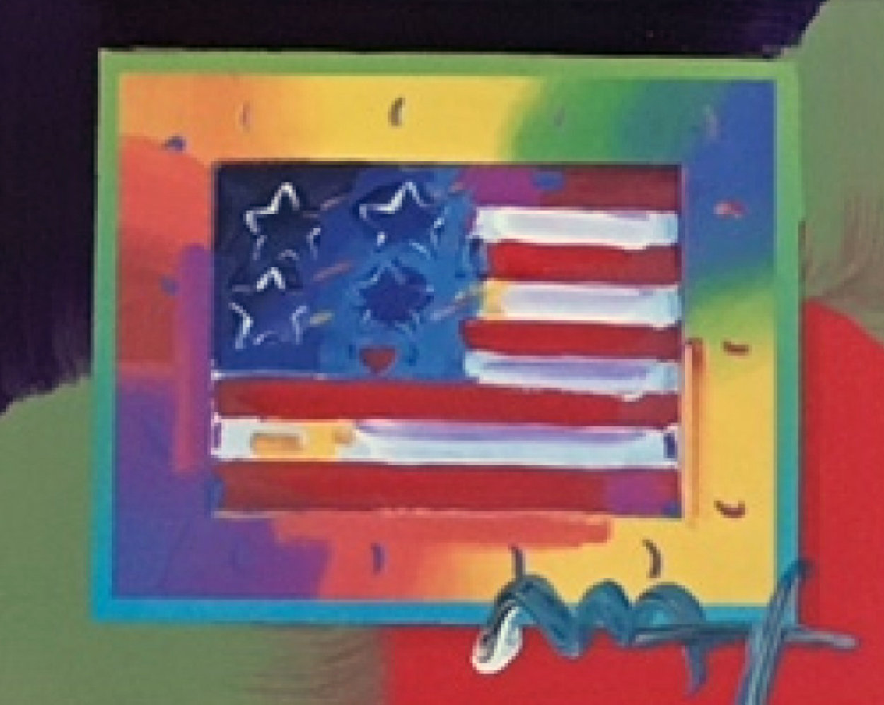 Flag With Heart on Blends - Horizontal  American Suite Unique 2005 Works on Paper (not prints) by Peter Max