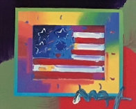 Flag With Heart on Blends - Horizontal  American Suite Unique 2005 Works on Paper (not prints) by Peter Max - 0