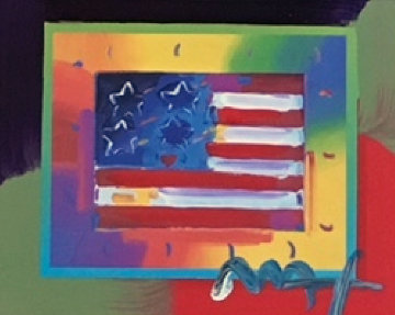 Flag With Heart on Blends - Horizontal  American Suite Unique 2005 Works on Paper (not prints) - Peter Max