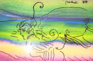 Angel Fantasy 1987 Unique 25x21 Works on Paper (not prints) by Peter Max
