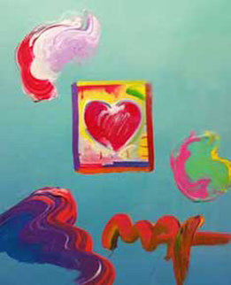 Heart Series Unique 2009 21x23 Works on Paper (not prints) - Peter Max