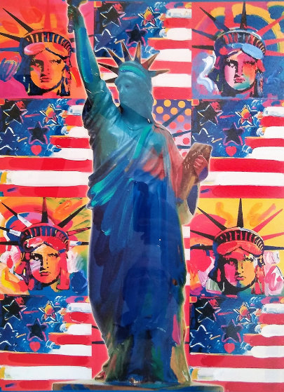 God Bless America - With Five Liberties 2001  Unique 24x18 Works on Paper (not prints) by Peter Max