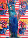 God Bless America - With Five Liberties 2001  Unique 24x18 Works on Paper (not prints) by Peter Max - 0