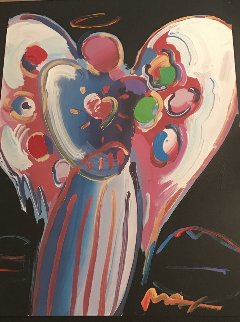 Angel With Heart 2000 17x25 Works on Paper (not prints) by Peter Max