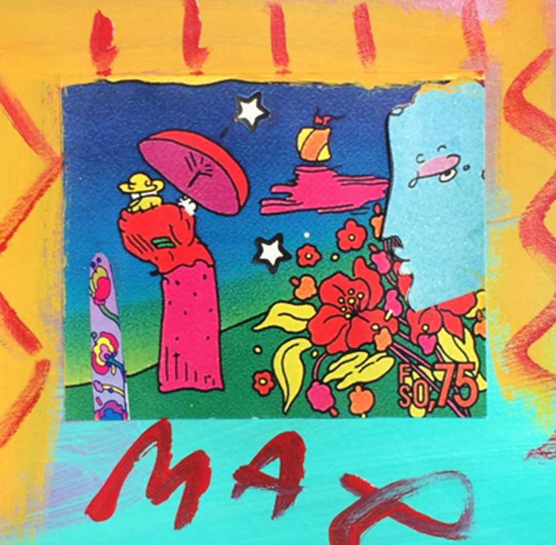 Blue Profile and Umbrella Man Unique 1994 19x18 Works on Paper (not prints) by Peter Max