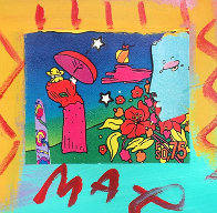Blue Profile and Umbrella Man Unique 1994 19x18 Works on Paper (not prints) by Peter Max - 0