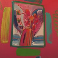 Angel with  Heart Collage, Ver II 1998 14x12 Works on Paper (not prints) by Peter Max - 0