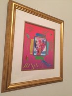 Angel with  Heart Collage, Ver II 1998 14x12 Works on Paper (not prints) by Peter Max - 1