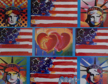 4 Liberties Patriotic Series Unique 16x19 Works on Paper (not prints) - Peter Max