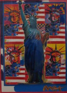 God Bless America - With Five Liberties Unique 2001 31x37 Works on Paper (not prints) by Peter Max