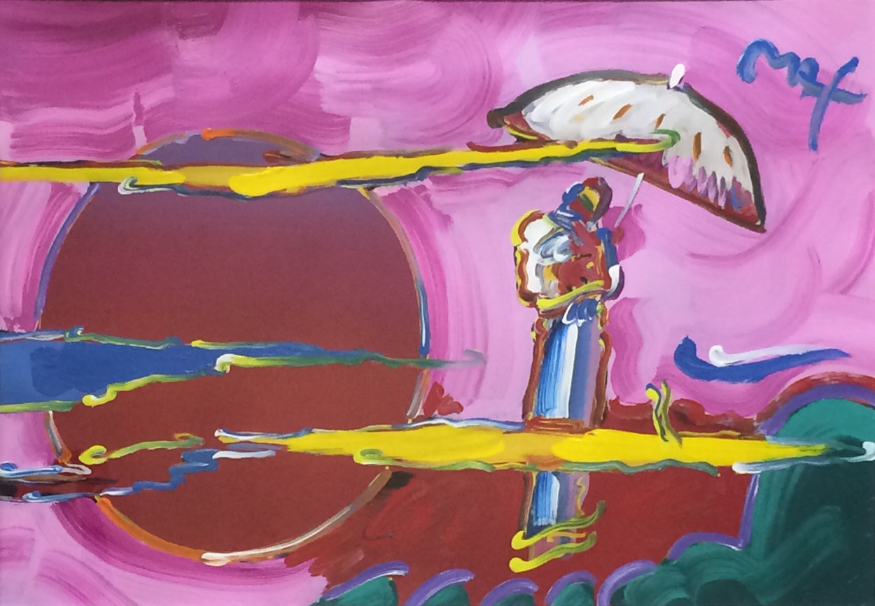 New Moon Unique 2006 39x51 Super Huge Works on Paper (not prints) by Peter Max