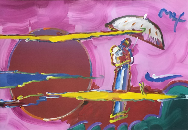 New Moon Unique 2006 39x51 Works on Paper (not prints) by Peter Max