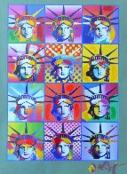 Liberty And Justice For All II  Unique 2005 40x34 Huge Works on Paper (not prints) by Peter Max - 2