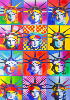 Liberty And Justice For All II  Unique 2005 40x34 Super Huge Works on Paper (not prints) - Peter Max