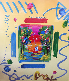 Better World Collage I 1999 22x24 Works on Paper (not prints) by Peter Max