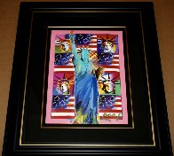 God Bless America III - With Five Liberties Unique 2005 39x33 Works on Paper (not prints) by Peter Max - 2