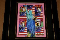 God Bless America III - With Five Liberties Unique 2005 39x33 Works on Paper (not prints) by Peter Max - 3