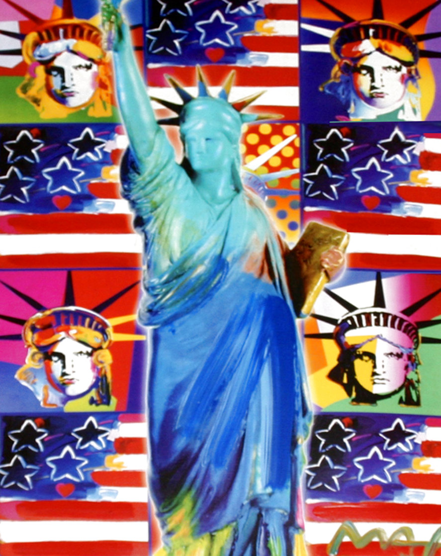 God Bless America III - With Five Liberties Unique 2005 39x33 Works on Paper (not prints) by Peter Max