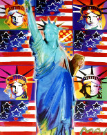 God Bless America III - With Five Liberties Unique 2005 39x33 Works on Paper (not prints) by Peter Max - 0