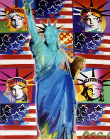 God Bless America III - With Five Liberties Unique 2005 39x33 Works on Paper (not prints) by Peter Max - 1