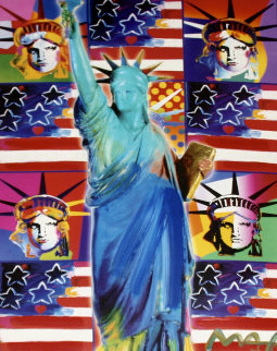 God Bless America III - With Five Liberties Unique 39x33 Works on Paper (not prints) by Peter Max