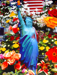 Land of the Free Home of the Brave II Unique 2005 39x33 Works on Paper (not prints) - Peter Max