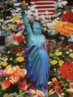 Land of the Free Home of the Brave II Unique 2005 39x33 Works on Paper (not prints) by Peter Max