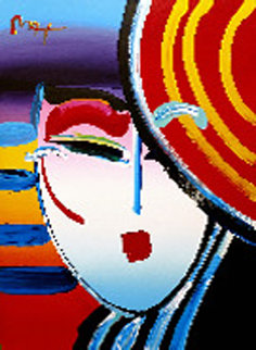 Deco Lady 2002 48x36 Original Painting by Peter Max