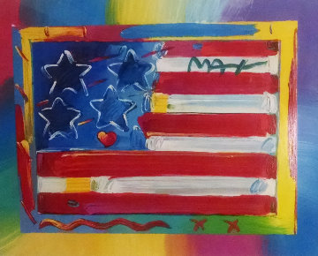Flag With Heart Unique 18x23 Works on Paper (not prints) by Peter Max