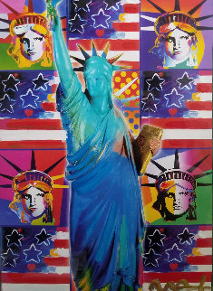God Bless America III - With Five Liberties Unique 2005 24x18 Works on Paper (not prints) - Peter Max