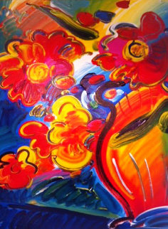 Vase of Flowers 2000 57x47 Original Painting - Peter Max